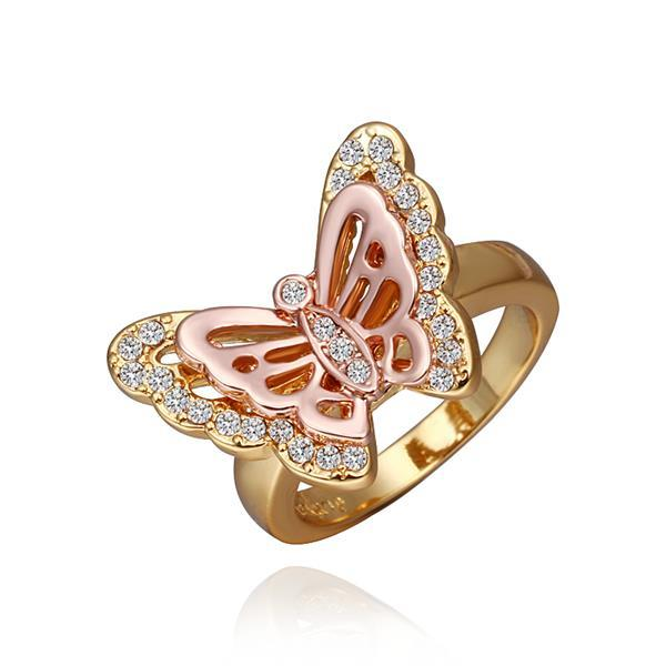 Vienna Jewelry Gold Plated Flying Petite Butterfly Ring Size 8