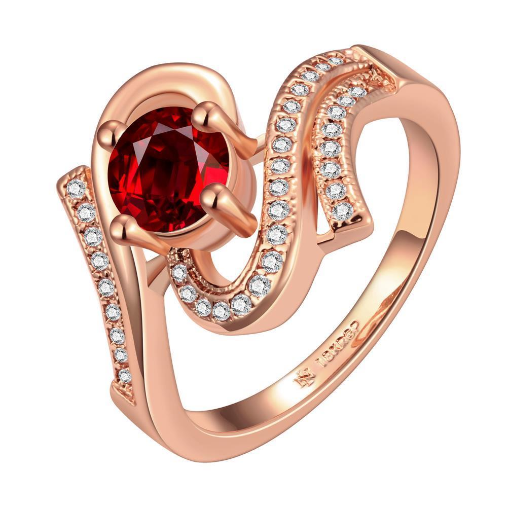 Vienna Jewelry Rose Gold Plated Ruby Red Swril Ring Size 7