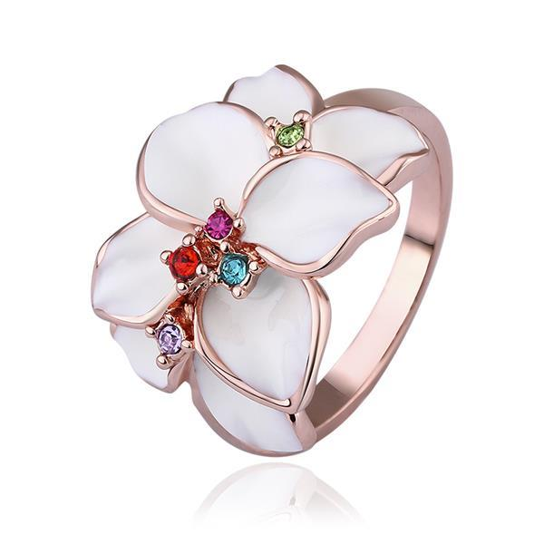 Vienna Jewelry Rose Gold Plated Ivory Petals Ring Size 8