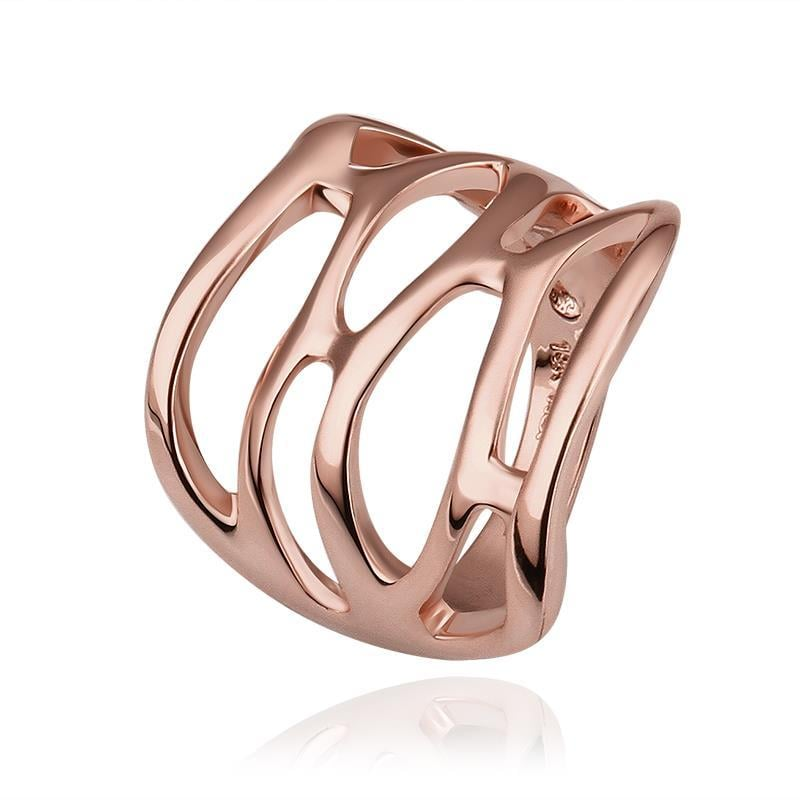 Vienna Jewelry Rose Gold Plated Hollow Abstract Cut Ring Size 8