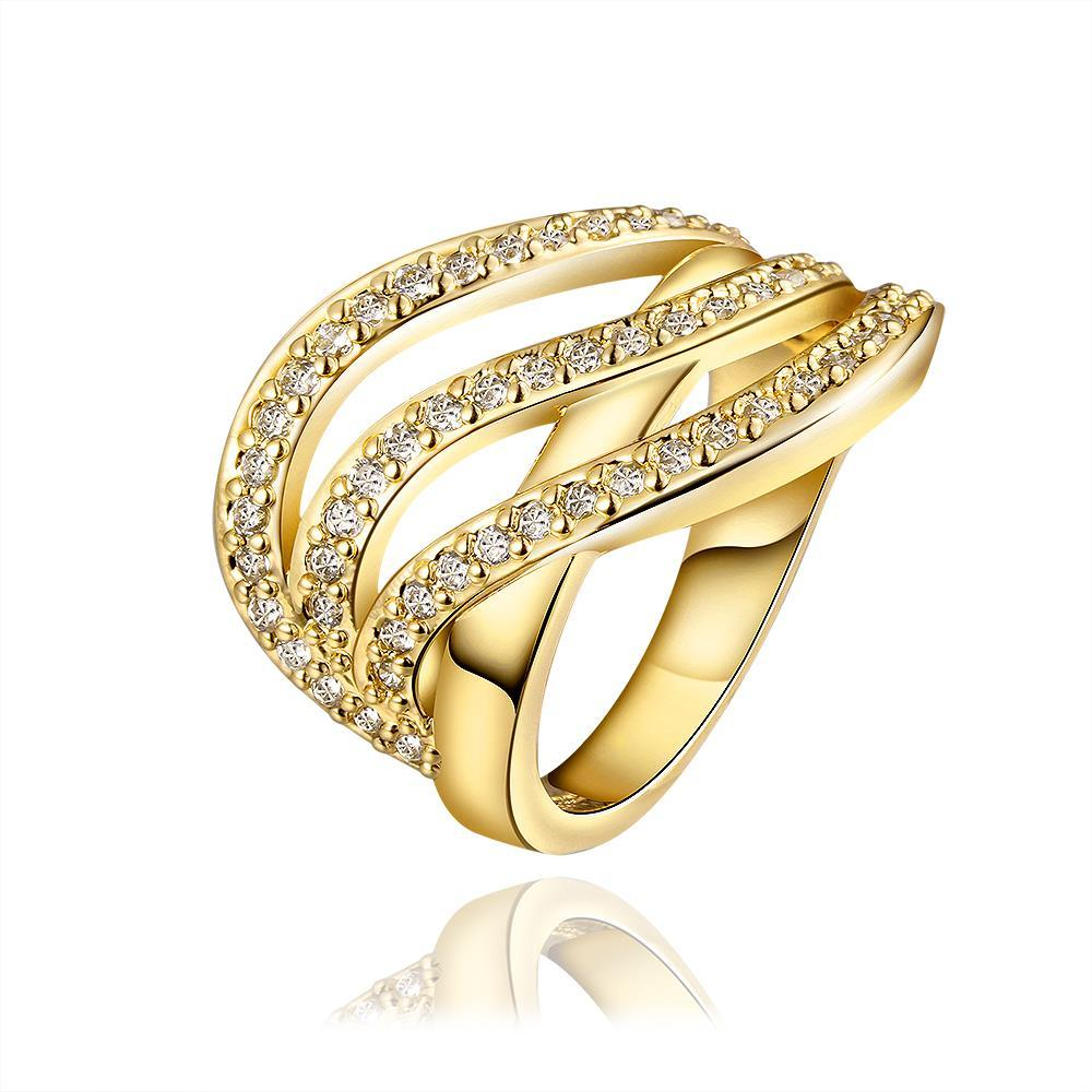 Vienna Jewelry Gold Plated Grape-Vine Desgin Swirl Ring Size 8 - Thumbnail 0