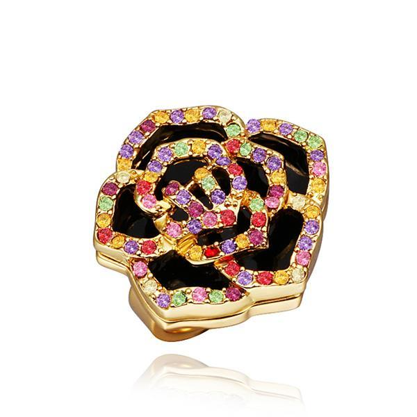 Vienna Jewelry Gold Plated Rainbow Jewels Covering Floral Ring Size 8