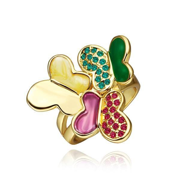 Vienna Jewelry Gold Plated Trio Flying Butterfly Ring Size 8