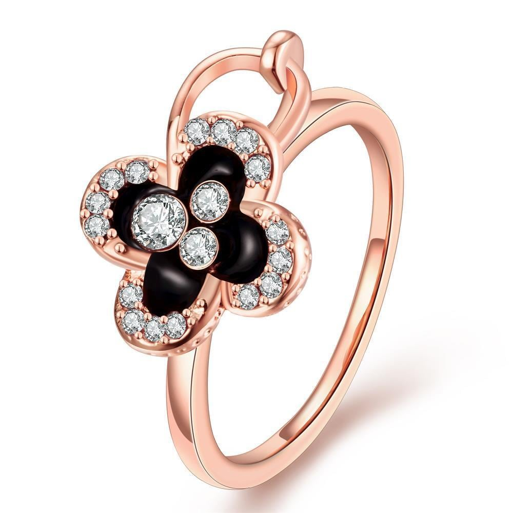 Vienna Jewelry Rose Gold Plated Onyx Clover Stud Ring Size 7