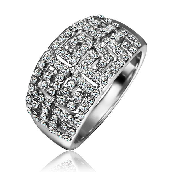 Vienna Jewelry White Gold Plated Multi-Jewels Covering Cocktail Ring Size 8