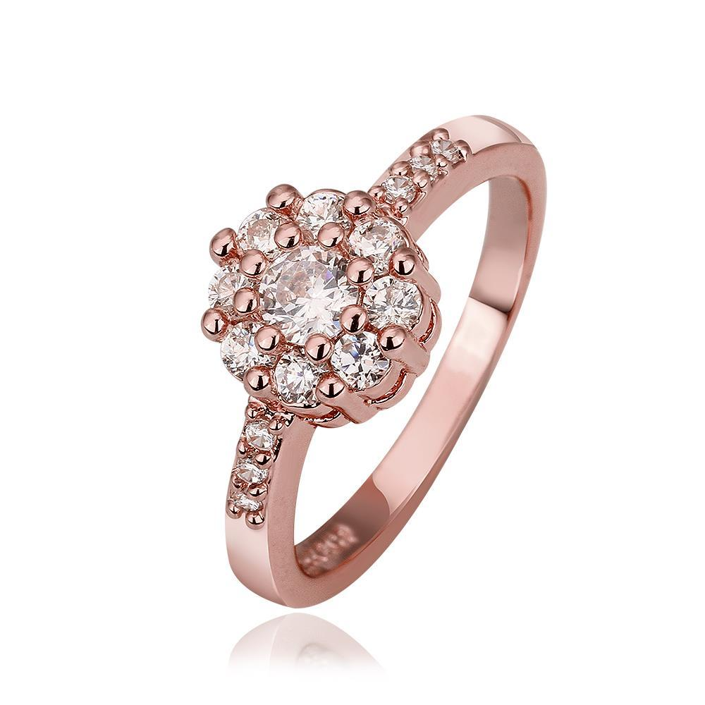 Vienna Jewelry Rose Gold Plated Crystal Jewels Emblem Ring Size 7