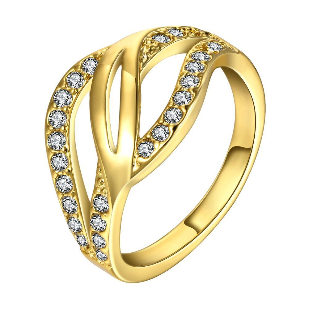Vienna Jewelry Gold Plated Swirl Design Crystal Ring Size 8