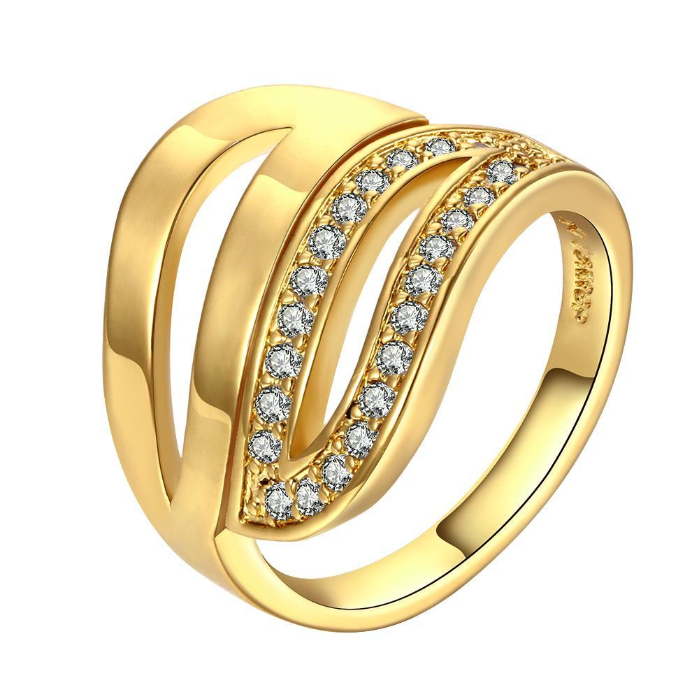 Vienna Jewelry Gold Plated Multi Swirl Lined Ring with Crystal Jewels Size 8