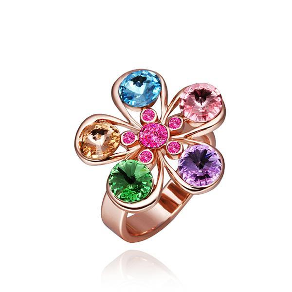 Vienna Jewelry Rose Gold Plated Five Rainbow Jewels Ring Size 8