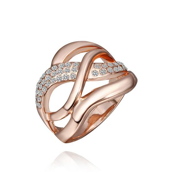Vienna Jewelry Rose Gold Plated Matrix Swirl Ring with Jewels Lining Ring Size 8