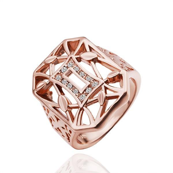 Vienna Jewelry Rose Gold Plated Laser Cut Horizontal Ring Size 8