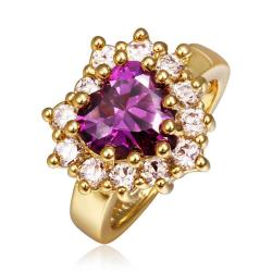 Vienna Jewelry Gold Plated Purple Citrine with Crystal Covering Ring Size 8 - Thumbnail 0