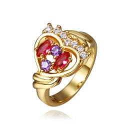 Vienna Jewelry Rose Gold Plated Heart Shaped Jewels Infused Ring Size 8 - Thumbnail 0