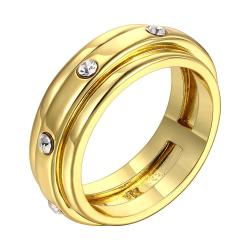 Vienna Jewelry Gold Plated Classic Band with Crystal Jewels Ring Size 8 - Thumbnail 0