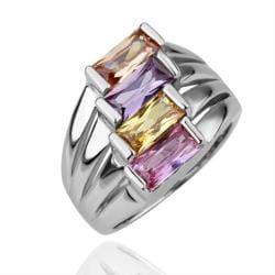 Vienna Jewelry White Gold Plated Quad Tropical Colors Ring Size 8 - Thumbnail 0