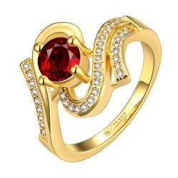 Vienna Jewelry Gold Plated Ruby Red Swril Ring Size 7 - Thumbnail 0