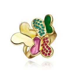 Vienna Jewelry Gold Plated Trio Flying Butterfly Ring Size 8 - Thumbnail 0