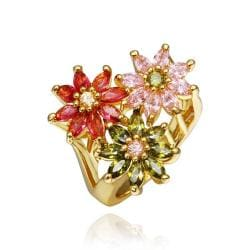 Vienna Jewelry Gold Plated Blossoming Floral Ring Size 8 - Thumbnail 0