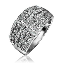 Vienna Jewelry White Gold Plated Multi-Jewels Covering Cocktail Ring Size 8 - Thumbnail 0