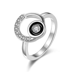 Vienna Jewelry White Gold Plated Circular Emblem with Onyx Center Ring Size 8 - Thumbnail 0