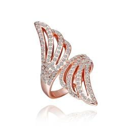 Vienna Jewelry Rose Gold Plated Jewels Covering Floral Orchid Ring Size 8 - Thumbnail 0