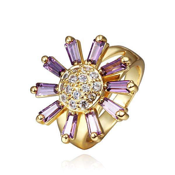 Vienna Jewelry Gold Plated Lavender Citrine Floral Ring Size 8