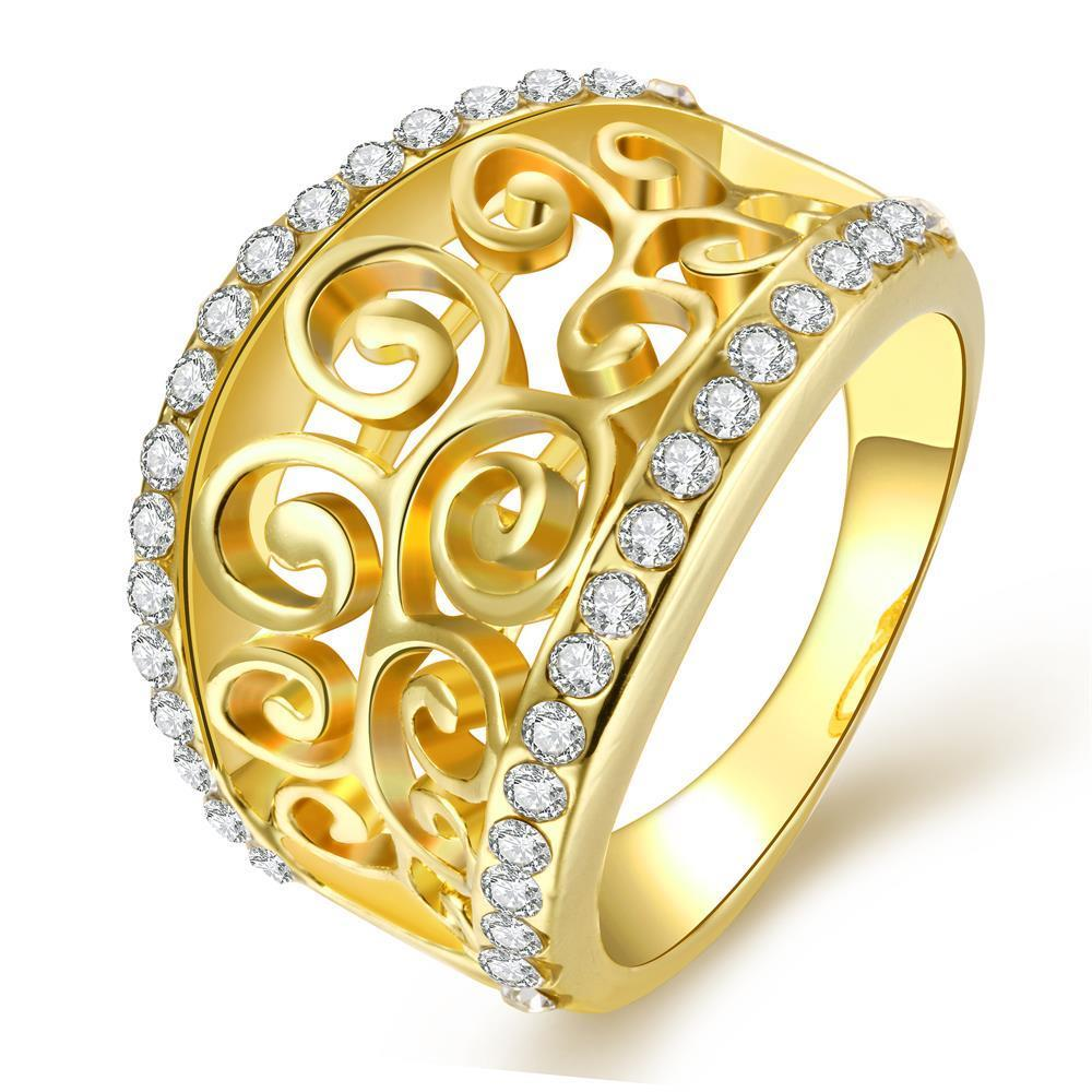 Vienna Jewelry Gold Plated Swirl Design Thick Ring Size 8