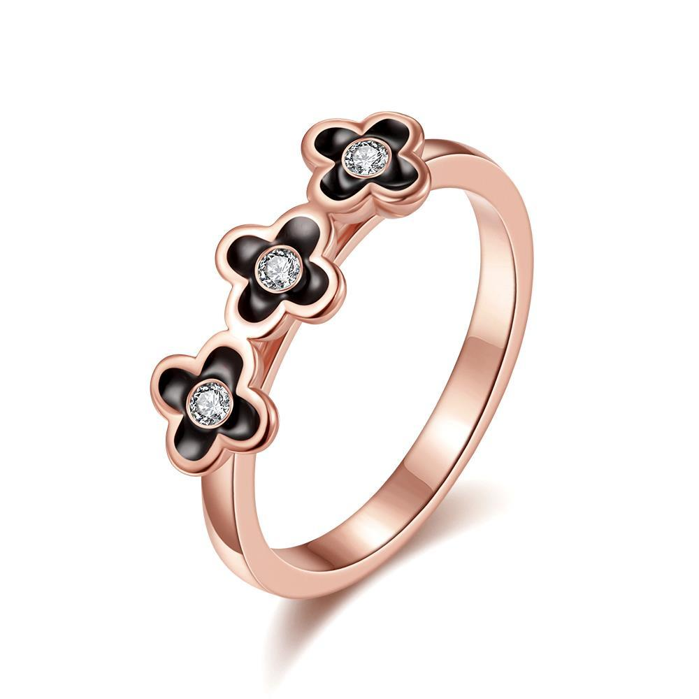 Vienna Jewelry Rose Gold Plated Trio-Petite Clover Stud Ring Size 7
