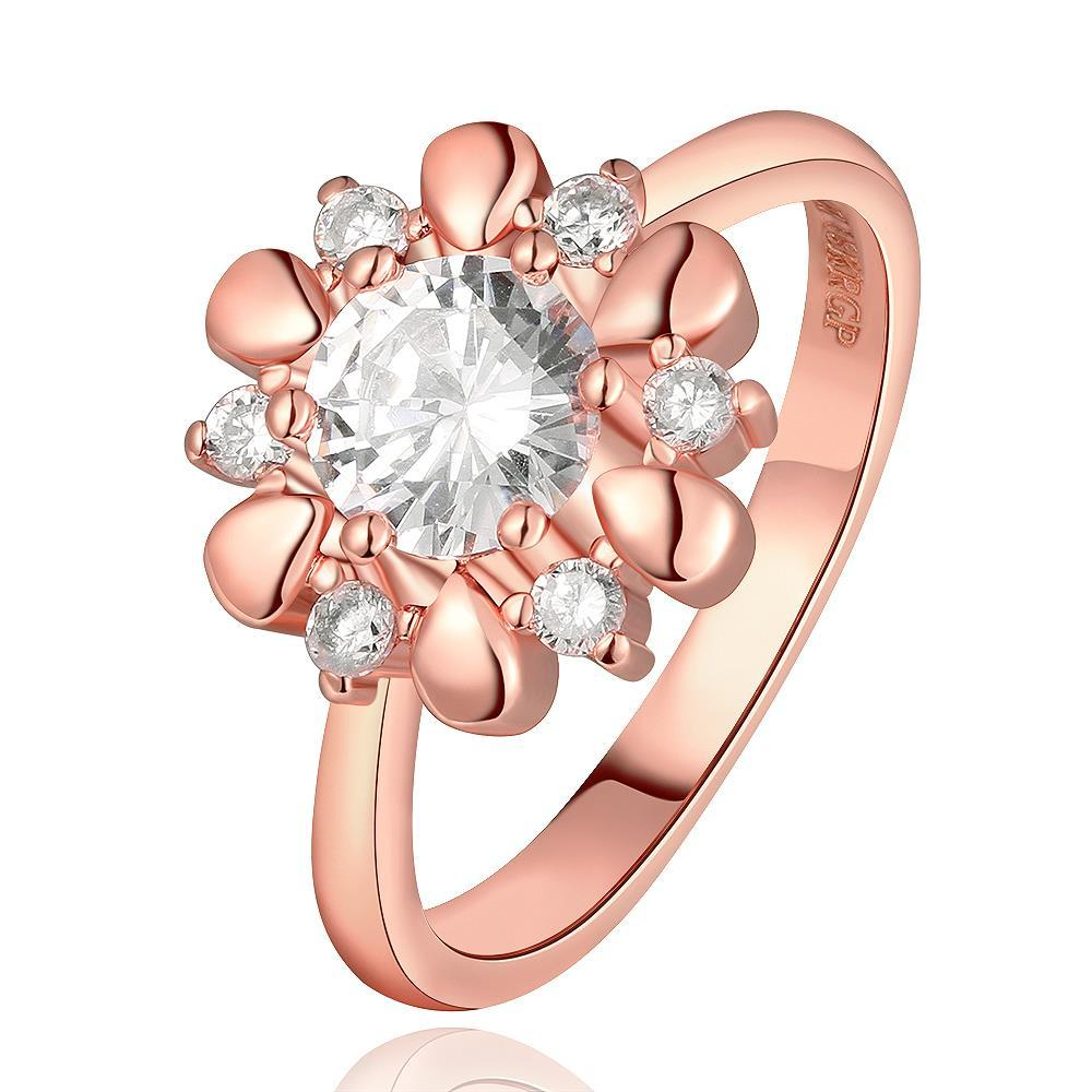 Vienna Jewelry Rose Gold Plated Petite Snowflake Covered with Jewels Ring Size 7