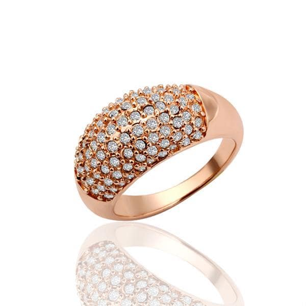 Vienna Jewelry Rose Gold Plated Classic Pav'e Covered Ring Size 7