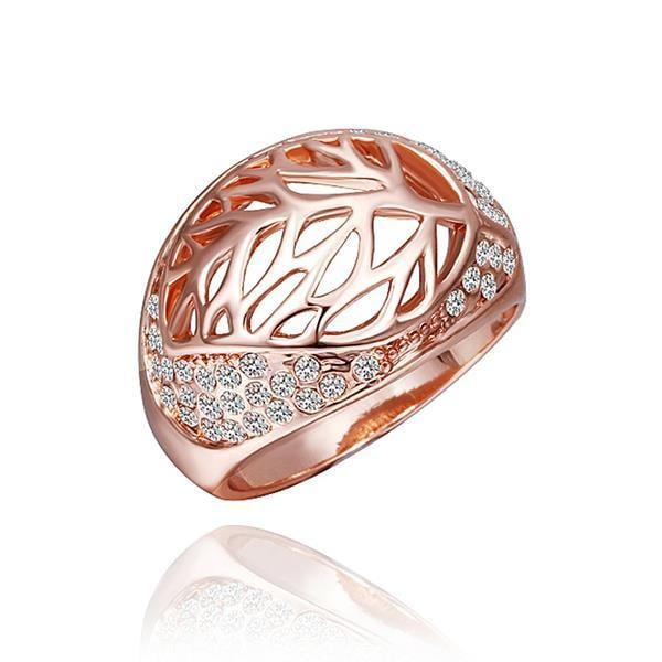 Vienna Jewelry Rose Gold Plated Laser Cut Round Diamond Jewels Covering Ring Size 8