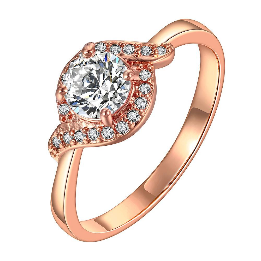 Vienna Jewelry Rose Gold Plated Design Knot Crystal Ring Size 8
