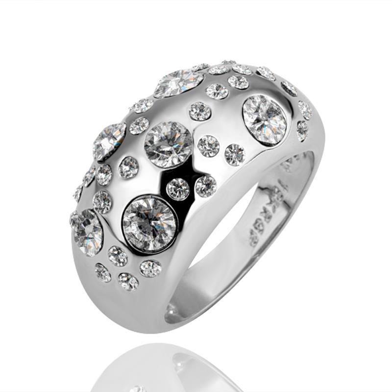 Vienna Jewelry White Gold Plated Diamond Jewels Ring Size 8