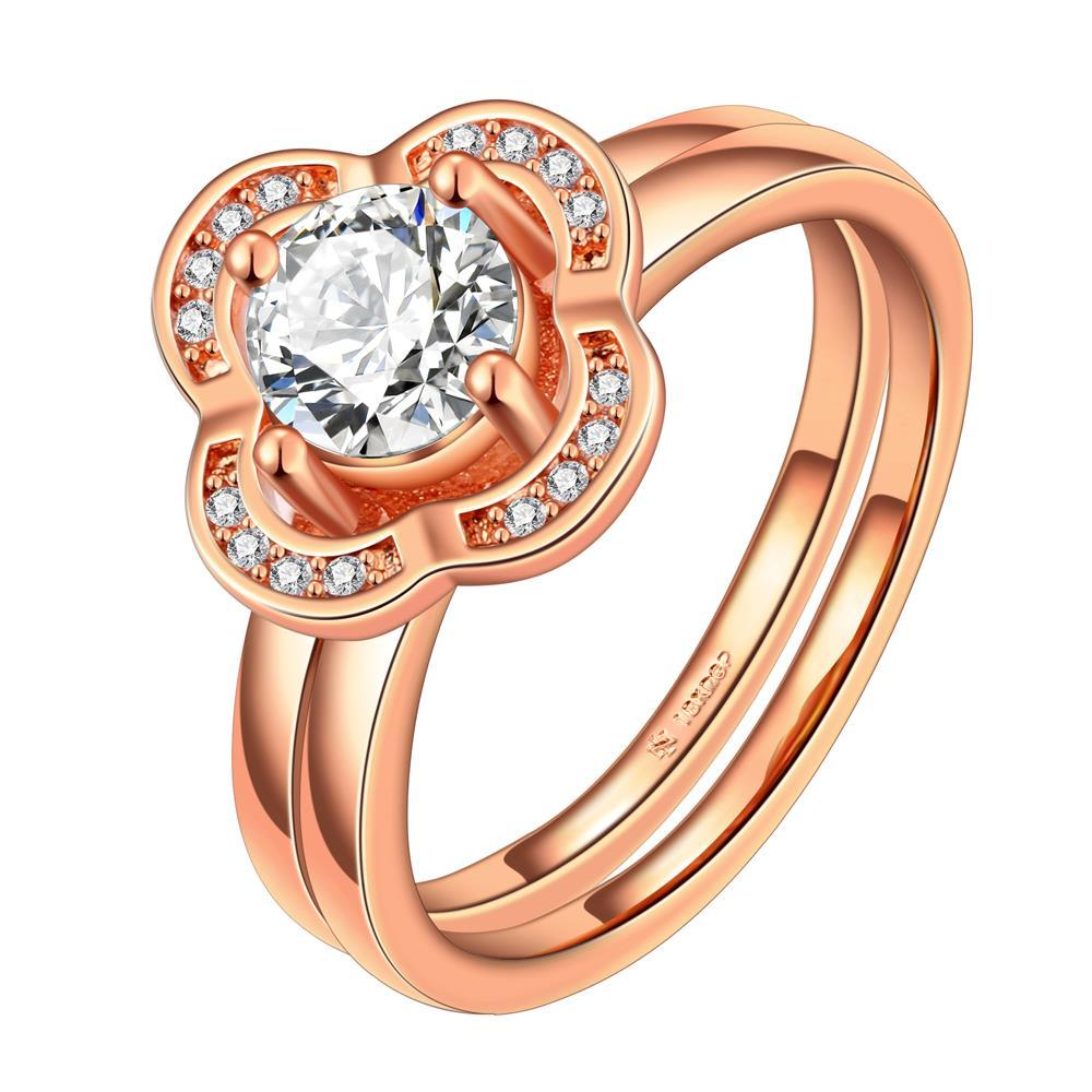 Vienna Jewelry Rose Gold Plated Petite Clover Shaped Ring Size 8