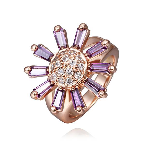 Vienna Jewelry Rose Gold Plated Lavender Citrine Floral Ring Size 8