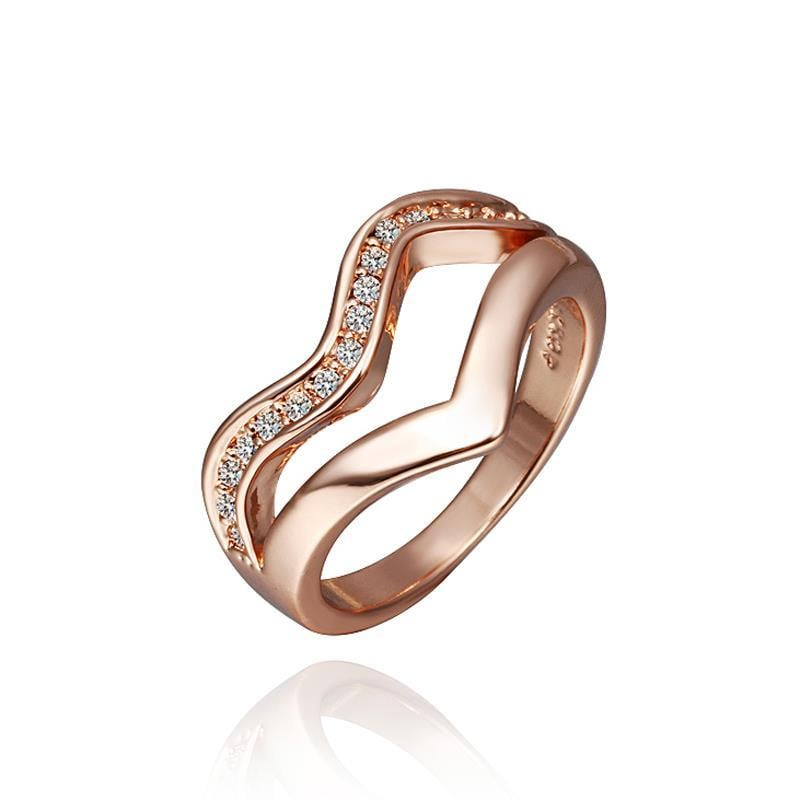 Vienna Jewelry Rose Gold Plated V Line Swirl Ring Size 8