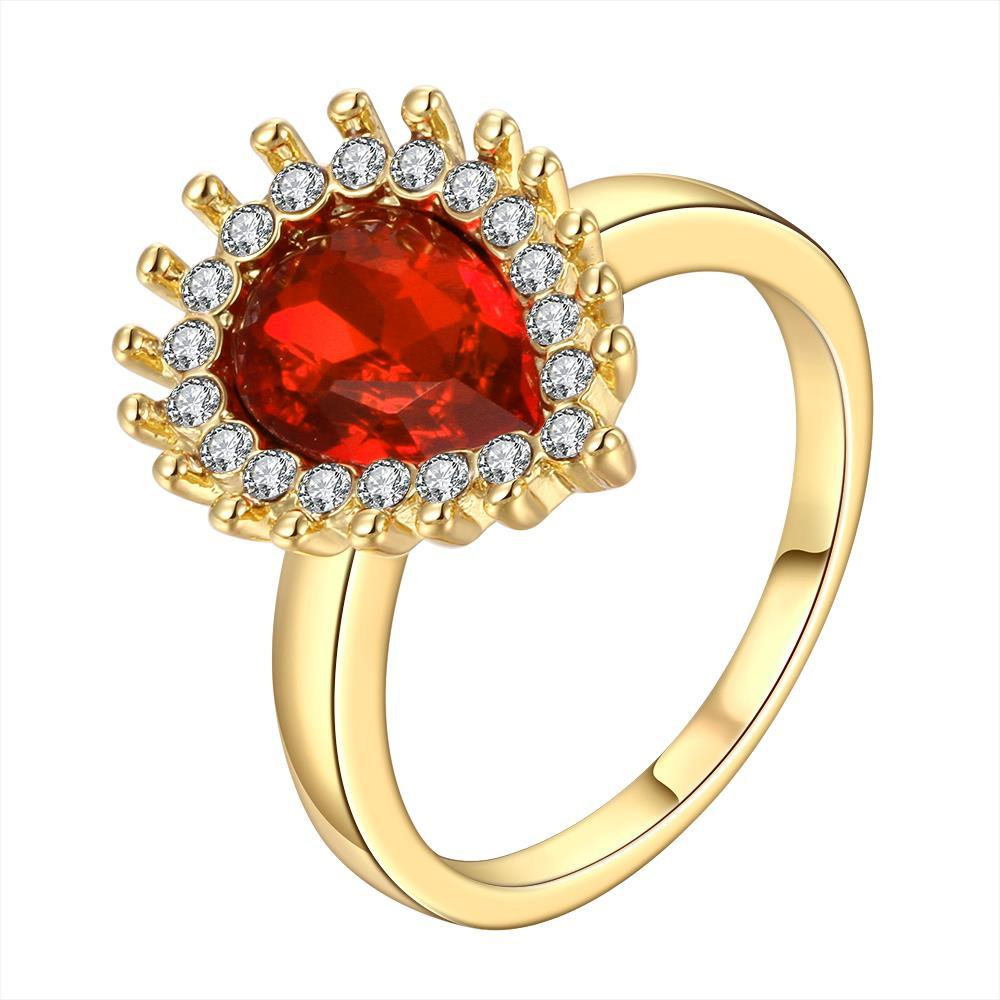 Vienna Jewelry Gold Plated Ruby Red Center Classic Ring Size 7