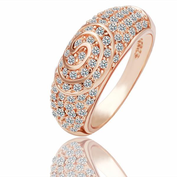 Vienna Jewelry Rose Gold Plated Circle Swirl Jewels Covering Ring Size 8