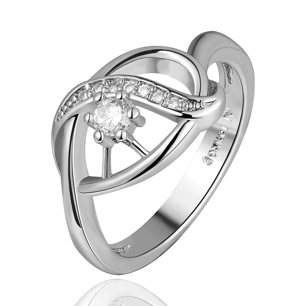 Vienna Jewelry White Gold Plated Laser Cut Circular Emblem Ring Size 7