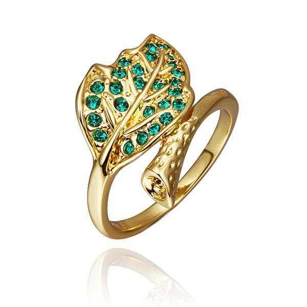 Vienna Jewelry Gold Plated Emerald Twisted Leaf Branch Ring Size 8