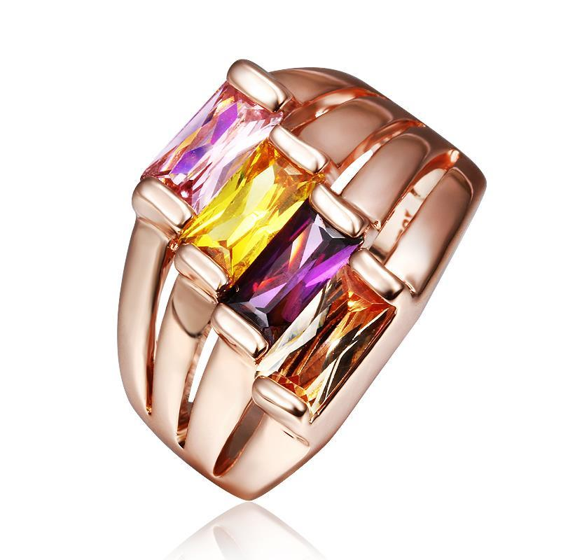 Vienna Jewelry Rose Gold Plated Quad Rainbow Jewels Ring Size 8