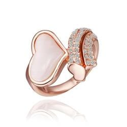 Vienna Jewelry Rose Gold Plated Crystal Heart Shaped Ring Size 8 - Thumbnail 0