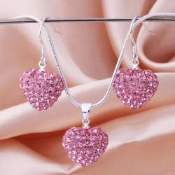 Vienna Jewelry Austrian Crystal Element Solid-Pave Heart Earring and Necklace Set-Solid Fusion - Thumbnail 0