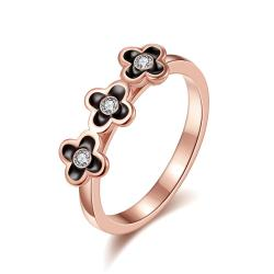 Vienna Jewelry Rose Gold Plated Trio-Petite Clover Stud Ring Size 7 - Thumbnail 0