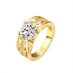 Vienna Jewelry Gold Plated Trio-Bar Jewel Layered Ring Size 7 - Thumbnail 0