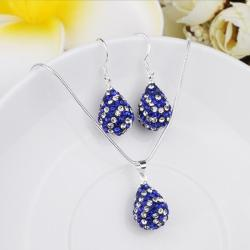 Vienna Jewelry Austrian Crystal Element Multi-Pave Pear Earring and Necklace Set-Royal Blue