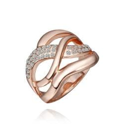 Vienna Jewelry Rose Gold Plated Matrix Swirl Ring with Jewels Lining Ring Size 8 - Thumbnail 0