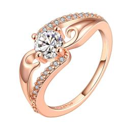 Vienna Jewelry Rose Gold Plated Crystal Jewel Center Ring Size 8 - Thumbnail 0