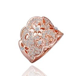 Vienna Jewelry Rose Gold Plated Jewels Covering Tiara Hollow Ring Size 8 - Thumbnail 0