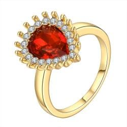 Vienna Jewelry Gold Plated Ruby Red Center Classic Ring Size 7 - Thumbnail 0